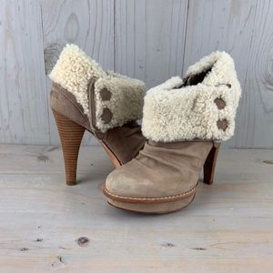 UGG GEORGETTE FAWN SUEDE STILETTO BOOTIES